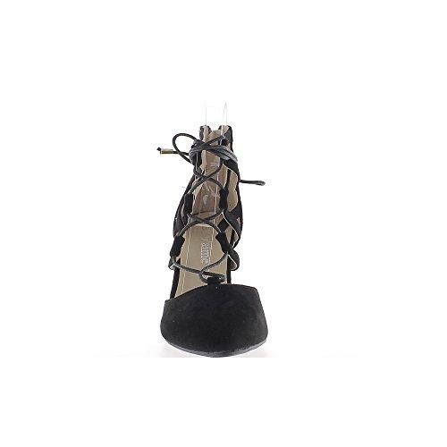 Escarpins noirs ouverts pointus à talon de 9cm avec lacet aspect daim