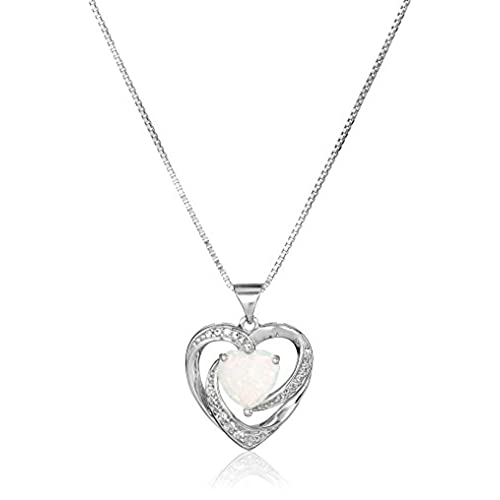 Opal birthstone necklace amazon sterling silver created opal and white sapphire open heart pendant necklace 18 aloadofball Gallery