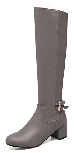 Aisun Women's Buckle Strap Block Mid Heel Pull On Dressy Round Toe Knee High Boots Shoes (Gray, 5.5 B(M) US) -
