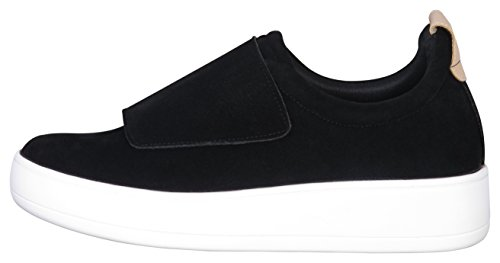 Glaze Womens Strap Low Top Fashion Sneaker Black mD2HXS