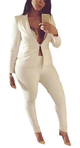 ZXFHZS Women Two Piece Outfits Solid Color Blazer and Pants Long-Sleeved OL Casual Suit Sets White S - Long Sleeved Velour Pant