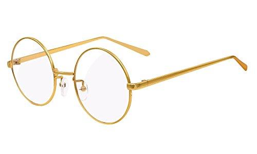 Hombres Anteojos Metal Metal BOZEVON de Redondo Gafas Para Gafas Transparentes Lentes Mujeres Oro Claro Retro de Marco Decoración Full Lectura Ultrafino pwnwF1a4q