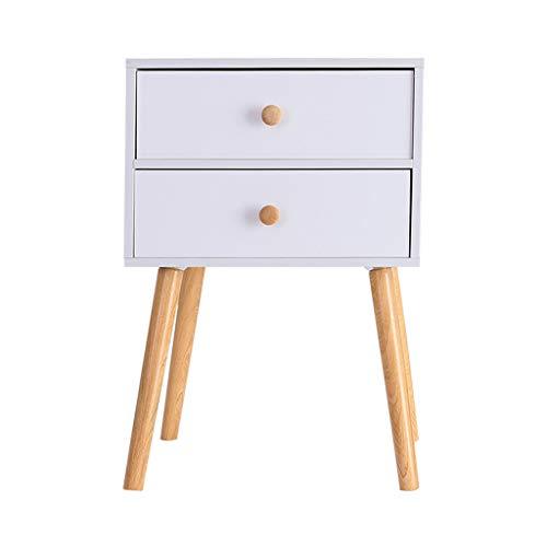 iHPH7 North American Modern Minimalist Dedside Cabinet Storage Solid Wood Legs (One Size,White)