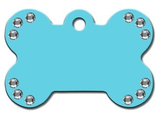 - Diva Diamond Dog Jewel Collection Bone Shape Personalized Custom Engraved Pet ID Tags! (Turquoise/Clear Jewels, Large)