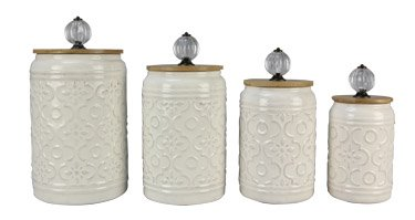Amazon Com Ceramic Canister With Crystal Knob Lid Home