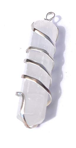 Clear Quartz Crystal Spiral Wrapped Pencil Pendant Gemstone 1.75 Inch