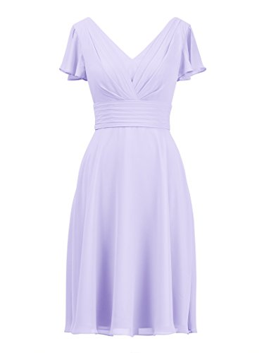 fon Bridesmaid Dress Formal Bridal Party Evening Gown Short, Lilac, US6 ()
