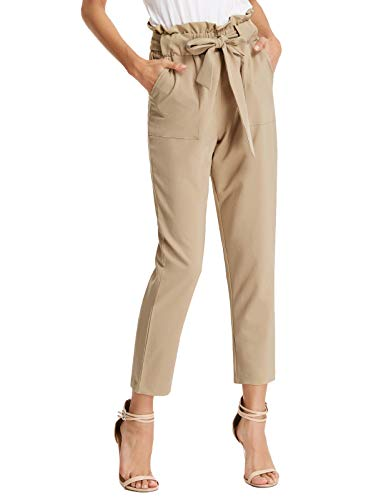 GRACE KARIN Women Ruffle High Waist Casual Bow Tie Work Cropped Pencil Pants Light Tan XL