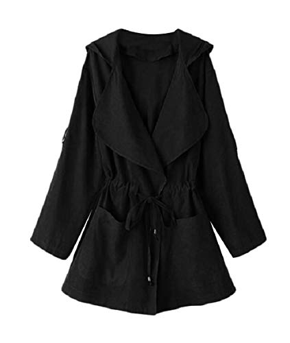 Women Coat Hoodie Pockets Lace Collar Turn XINHEO up Down Black Detail Trench qdHFW