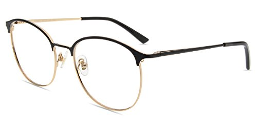(Firmoo Blue Light Blocking Computer Reading Glasses for Anti Glare/Eyestrain/Headache with Stylish Round Black and Gold Metal Frame for)