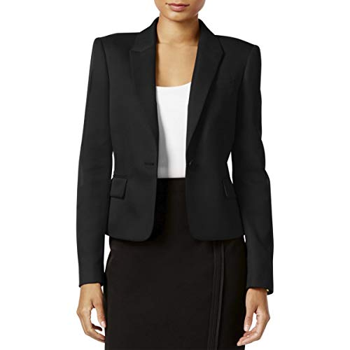 Tommy Hilfiger Womens Cropped Business One-Button Blazer Black 12