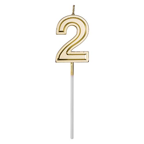 Belleone Birthday Cake Candle Numbers Decoration - Number Candle Set for Birthday Cake Cupcake Topper Decoration Birthday Party Celebration (Gold Number 2)]()