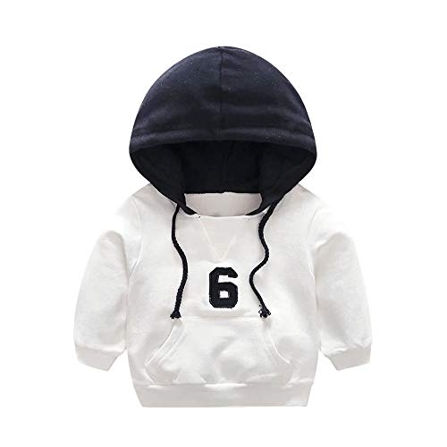 (Baby Sweatshirt, Waymine Infant Boys Girls Number 6 Hooded Pullover Clothes Tops 6M-3T White )