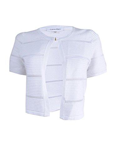 Calvin Klein Women's Short Sleeve Illusion Stripe Shrug (S, White) by Calvin Klein