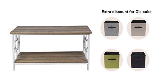 GIA Rectangular Coffee Table with Lower Storage Shelf - Ash Color - White Frame - Easy Assemble - Heat Resistance Wooden Top and Bottom