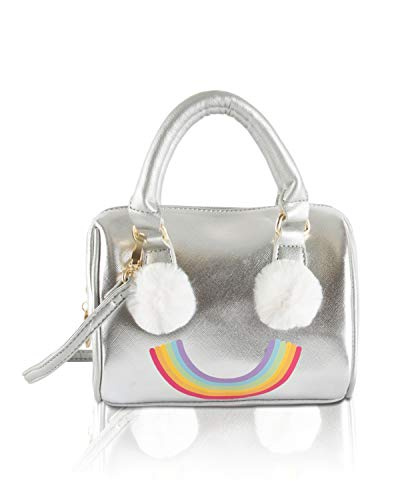 Luv Betsey Johnson Harly Kitch Rainbow Mini Barrel Crossbody Satchel Bag - Silver