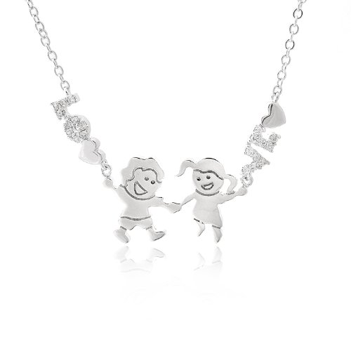 Minimal Silver Plated Crystal Innocent Kid Theme Necklace (Boy and Girl Holding Hands) - Style Pave Tiffany