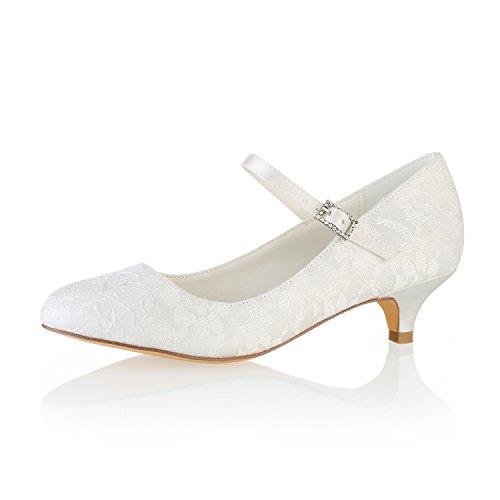 - Emily Bridal Wedding Shoes Lace Wedding Shoes Round Toe Mary Jane Bridal Shoes Kitten Heel Mother Shoes (EU40/8.5 B(M) US, Ivory)