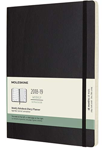 "Moleskine Classic 18 Month 2018-2019 Weekly Planner, Soft Cover, XL (7.5"" x 9.5"") Black"