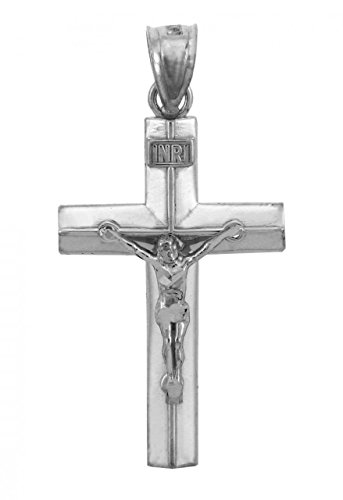 (Solid 14k White Gold Linear Cross Charm INRI Crucifix Pendant)