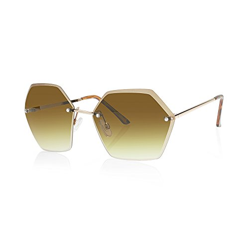 TWING Rimless Geometric Fashion Hexagon Shaped Ocean Lens Sunglasses with Hexagon Design (M10348-AMBER + - Men Design For Glasses