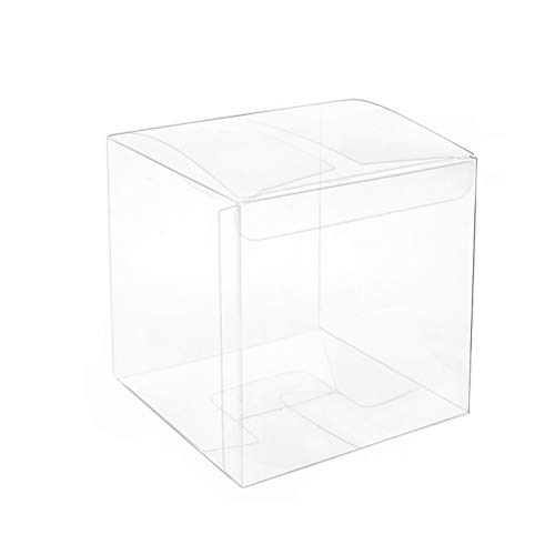 MOWO Clear Box 3x3x3 inch for Gift Candy Treat Cupcake Pack of 50]()