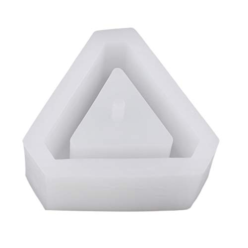 (Prettyia Flower Pot Silicone Rubber Molds Candle Soap Bottle Mold Handmade Craft Mold DIY Garden Planter Vase Ashtray Mould Tool,Triangle)