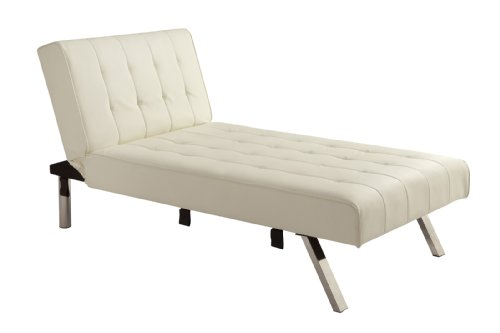 DHP Emily Linen Chaise Lounger, Stylish Design with Chrome Legs, Vanilla ()