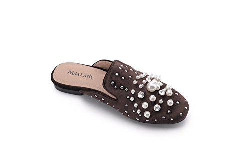 Spikes Lady New Shoes Slip Rhinestone Fashion Flats Pearl On Womens Mila Sylvia and Brown with Slides Stud Loafer Mules pqwdEAzWx
