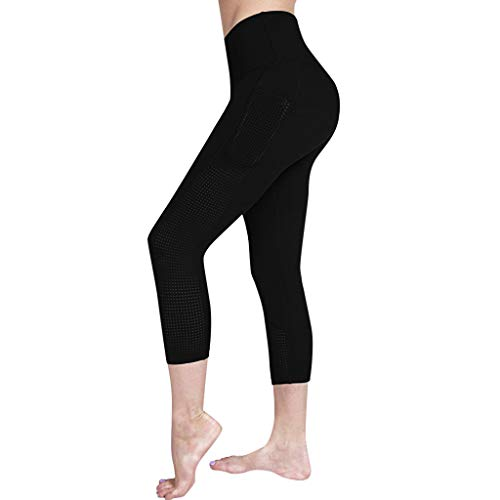 SPORTTIN Women's High Waist Mesh Yoga Pants Butt Lifting with Pockets Yoga Leggings for Gym Running Workout(Black,US Size M = Tag L
