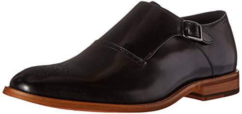 STACY ADAMS Men's Dinsmore Plain Toe Monk Strap Slip-On Loafer, Black, 10.5 M US