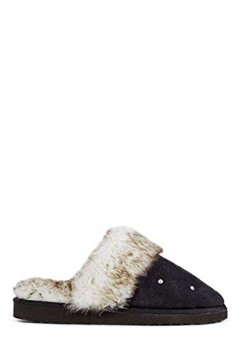 JustFab Just Fab Womens Lucerne Closed Toe Slip On Slippers Black/Multi Fauxfur 1cZAk2Qmw