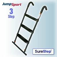 Escalera de trampolín JumpSport SureStep de 3 pasos | Recubierto en polvo y tratado con UV para una protección duradera contra el clima | Diseño robusto, pasos de plataforma grandes y planos
