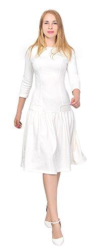 Marycrafts Women's Drop Waist Dress Retro 1920s Pleated Flapper Gown 10 Off White