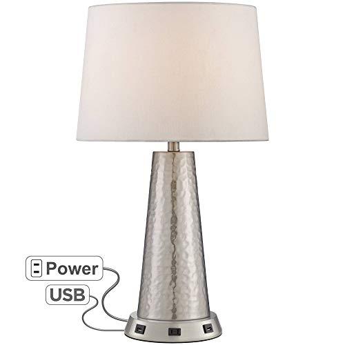 Silver Leaf Hammered Metal Table Lamp with USB Workstation Base - 360 Lighting