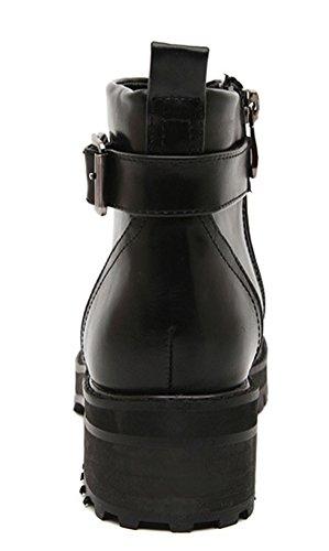 Botines De Hebilla De Cinturón Caliente De Moda Para Mujer De Aisun Negro