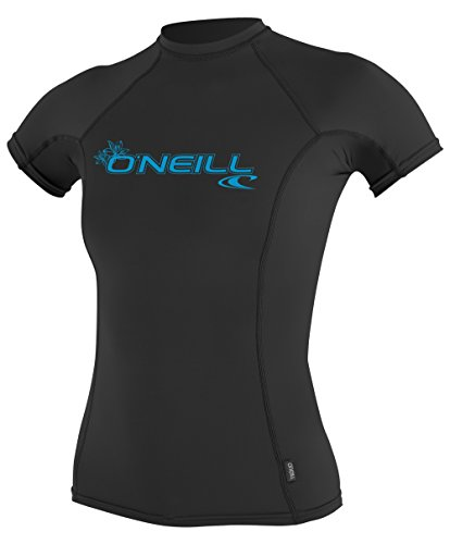 O'Neill Wetsuits UV Sun Protection Womens Basic Skins Short Sleeve Crew Sun Shirt Rash Guard, Black, X-Large