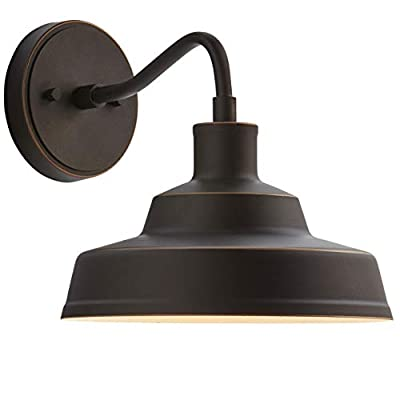 Stone & Beam Industrial Farmhouse Barn Outdoor Wall Sconce with Light Bulb - 10 x 12.72 x 9.72 Inches, Antique Bronze (Renewed)