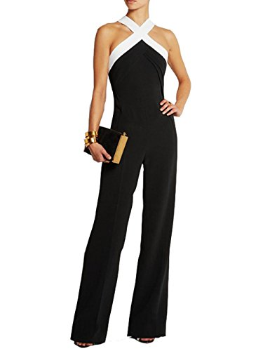 Womens Plunge Backless Palazzo Jumpsuit