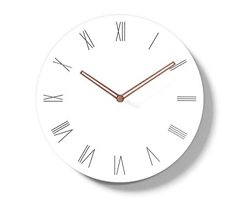 (Simple Modern White Round Wooden Wall Clock 11 inch Non-Ticking one AA Battery Powered (Roman Numbers))