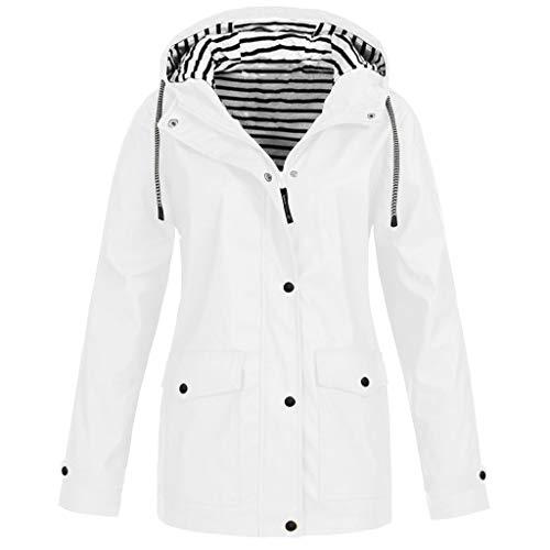 FRENDLY Women Solid Rain Jacket Plus Size Outdoor Waterproof Hooded Raincoat Solid Drawstring Windproof Rain Jacket White