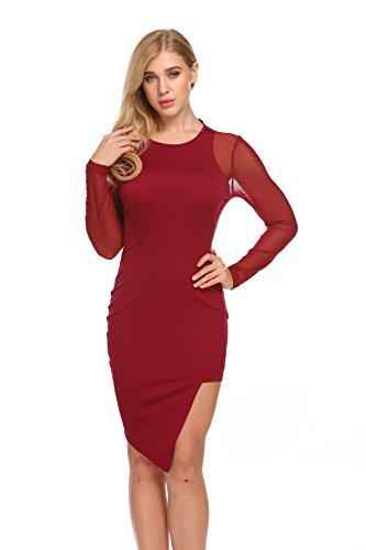 Yitrend Women Sexy Sheer Mesh Stretch Long Sleeve Nightclub Mini Bodycon Dress, Wine Red, Small