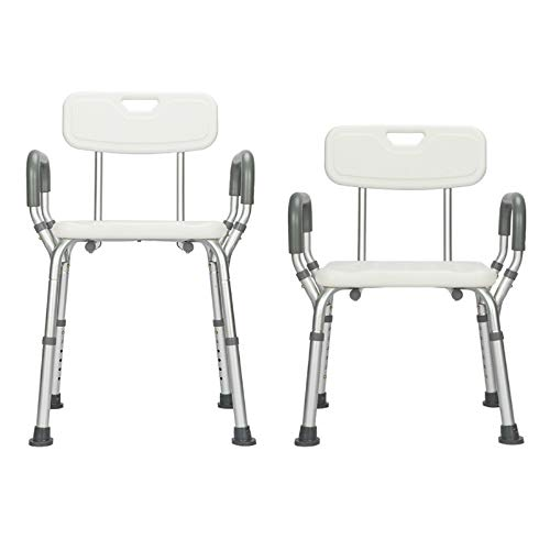 Shower Chair with Armrests Back Heavey Duty 330 lbs Bath Chair Bench Seat Shower Seat Stool Handicap Shower Chair Aluminium Alloy 7 Height Adjust Suction Cup Bathtub Lift Chair Baby Seniors Elderly ()