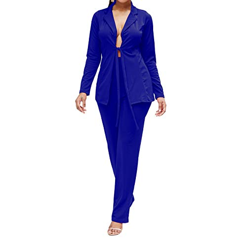 Womens Long Sleeve 2 Piece Blazers Suits Fashion Autumn Pure Suits Royal Blue Small ()