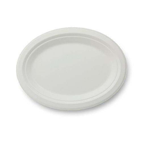 Stalkmarket 100% Compostable Sugar Cane Fiber Oval Platter, 10.5-Inch, 500-Count Case