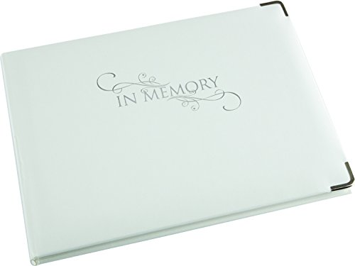 In Memory Book - White - Sympathy Book - Funeral Guest Book - Memorial Book - Condolence Book - Presentation Boxed - (LARGE SIZE - Width 10.5 inch - Height 7.6 inch - Depth 0.6