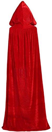 P's-JAPAN Full Length Hooded Cloak Velvet Satin Cape (150cm/59
