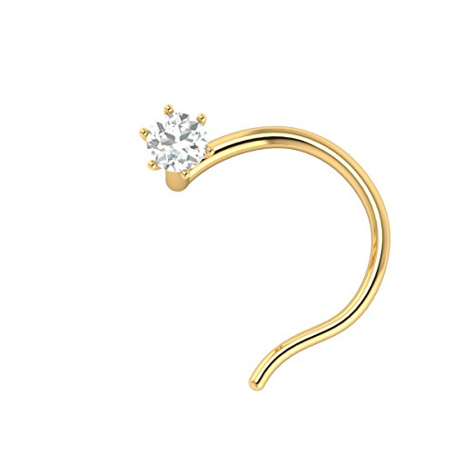 - 14k Yellow Gold Brilliant Cut Diamond Wedding Nose Body Piercing Ring Stud Pin Jewelry