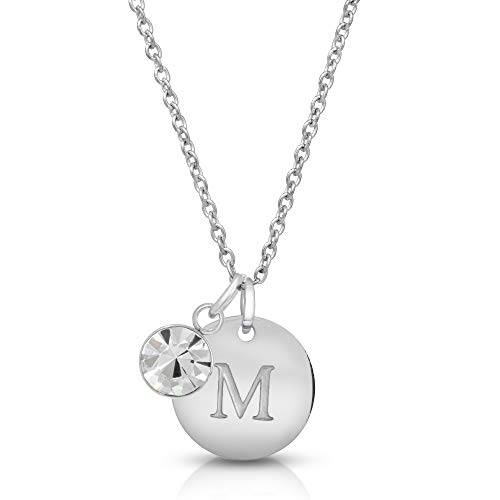 - Initial Necklace Letter M Personalized Custom Dainty Disc Sterling Silver with Zodiac Birthstone, 23.6
