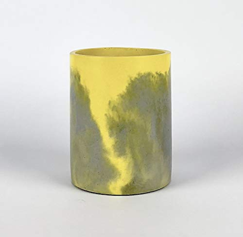 GRON Modern Design Concrete/Cement Flower Pot – 6 inch Colored Cylindrical Succulent Cactus Planters Without Drainage Hole, Indoor Outdoor (Yellow) -